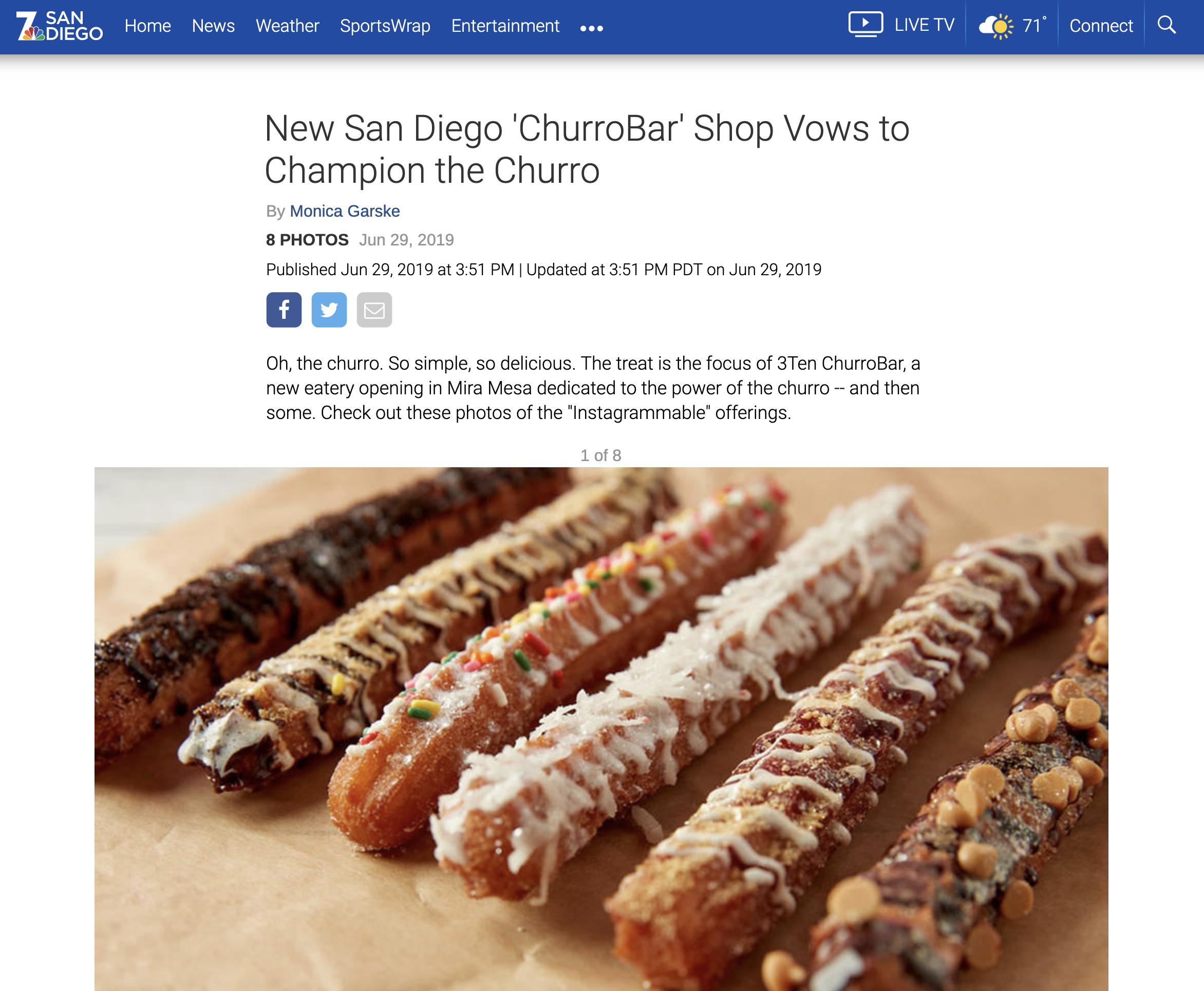 NBC SAN DIEGO - New San Diego 'ChurroBar' Shop Vows to Champion the Churro