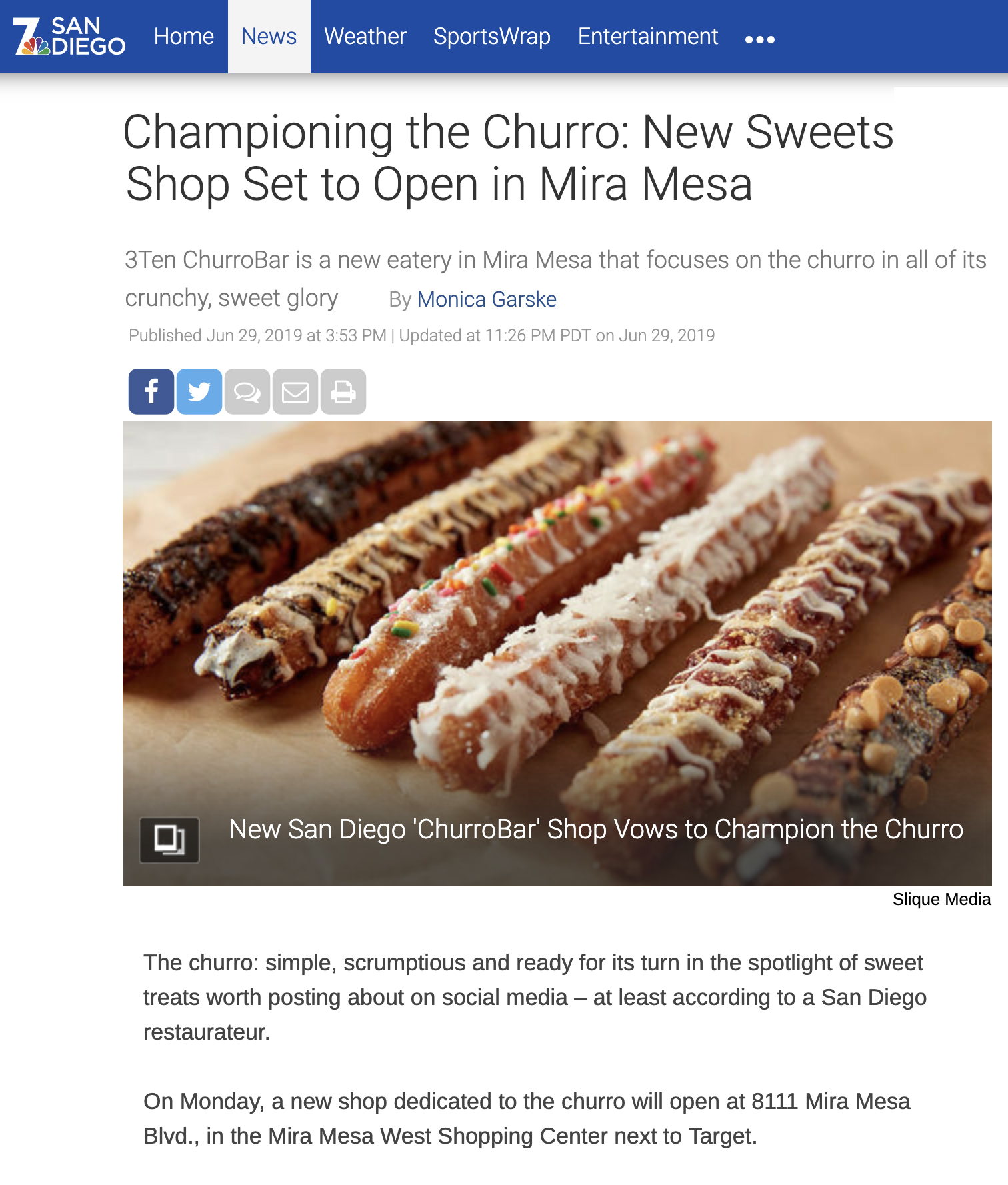 NBC SAN DIEGO - Championing the Churro: New Sweets Shop Set to Open in Mira Mesa