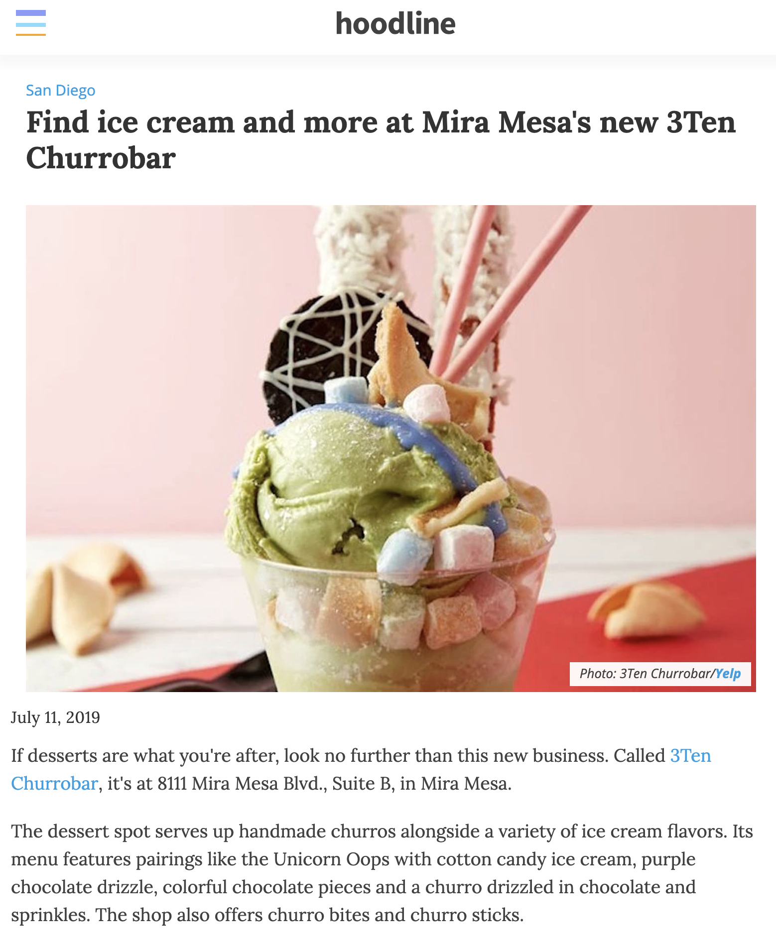 HOODLINE - Find ice cream and more at Mira Mesa's new 3Ten Churrobar