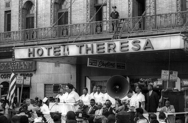 Untitled (Nation of Islam rally in front of the Hotel Theresa, Harlem), 1962