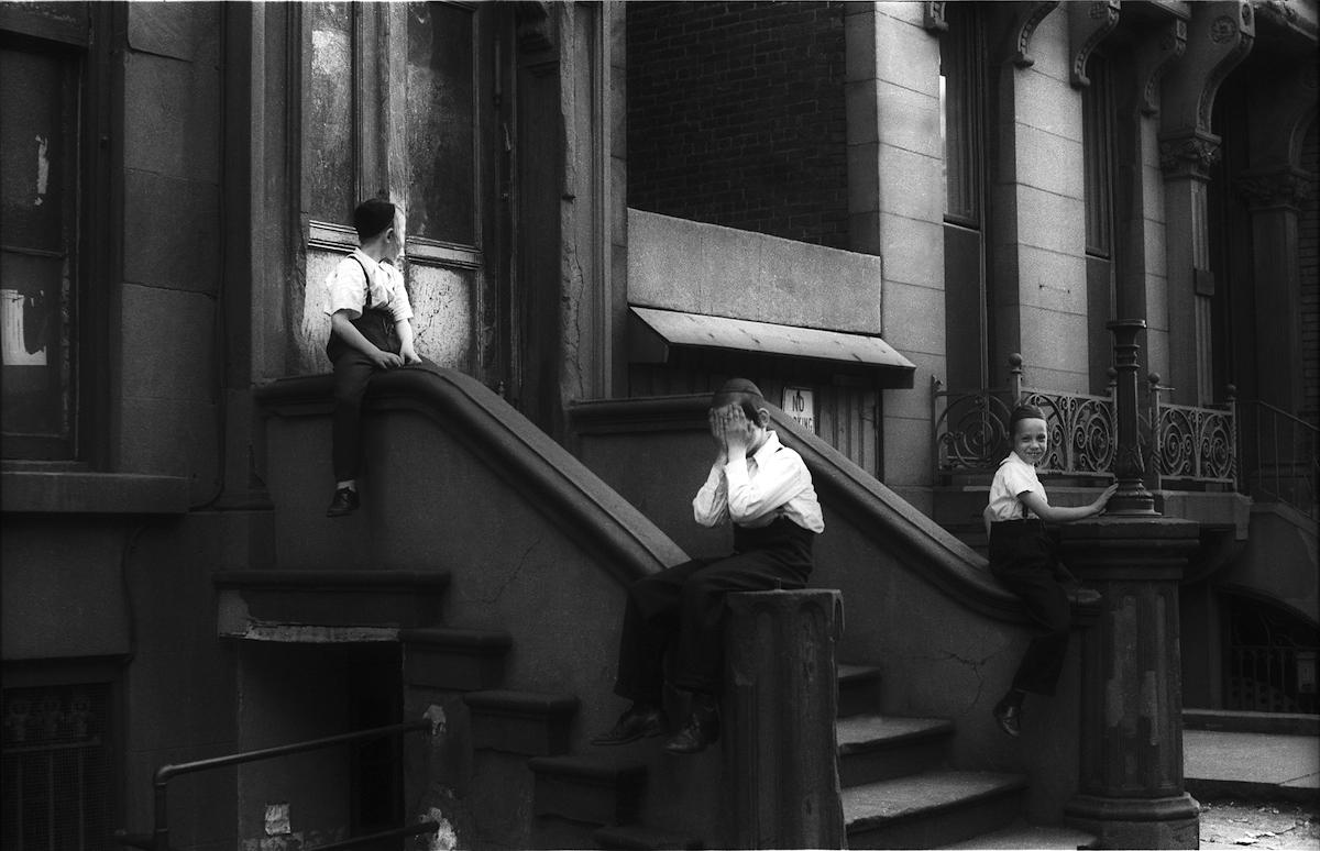 Untitled (Satmar boys in front of 550 Bedford Ave, Williamburg, Brooklyn), 1962