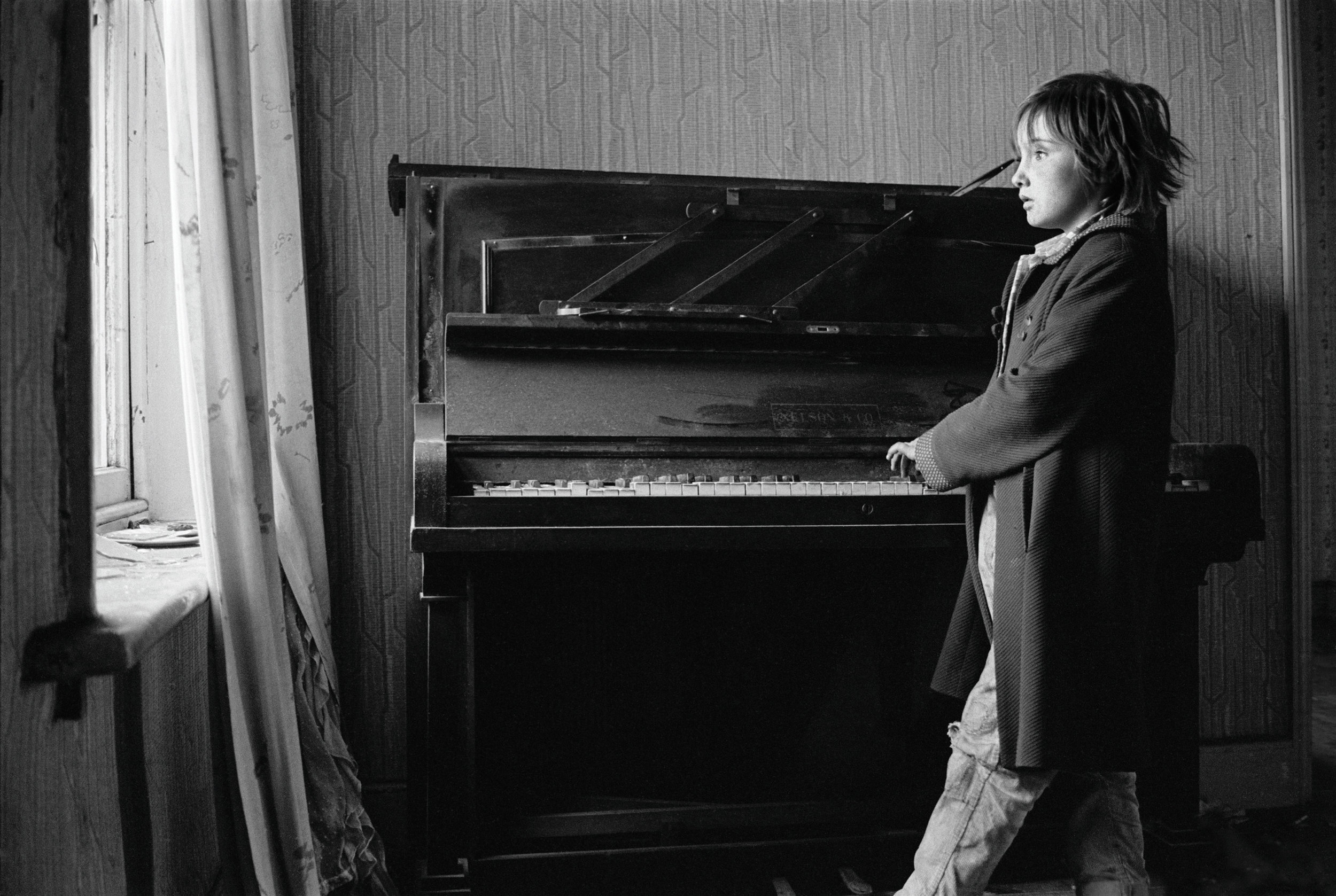 Heather Playing a Piano in a Derelict House, 1971