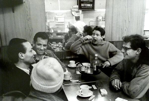 Gregory Corso, Larry Rivers, Jack Kerouac, David Amram, Allen Ginsberg in diner, 1959