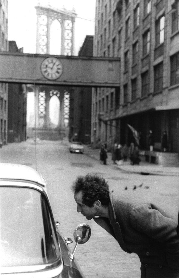 "Robert Frank During the filming of ""Pull My Daisy,"" Manhattan Bridge"