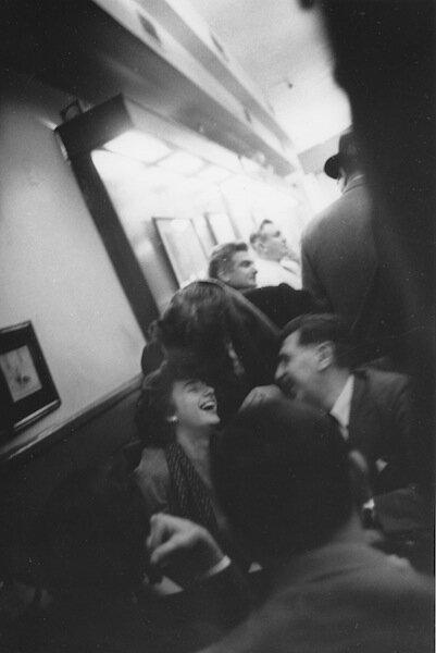Cedar Tavern: Grace Hartigan, Aristodimos Kaldis and Albert Kotin in booth, George Spaventa at the bar, 1959