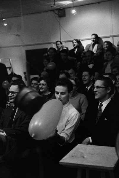 "Lucas Samaras, John Cage, et al, at ""Happening,"" Reuben Gallery"
