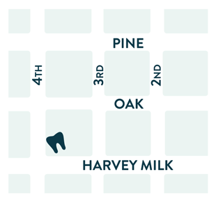 We're located at the corner of SW 4th Ave. and Harvey Milk St.
