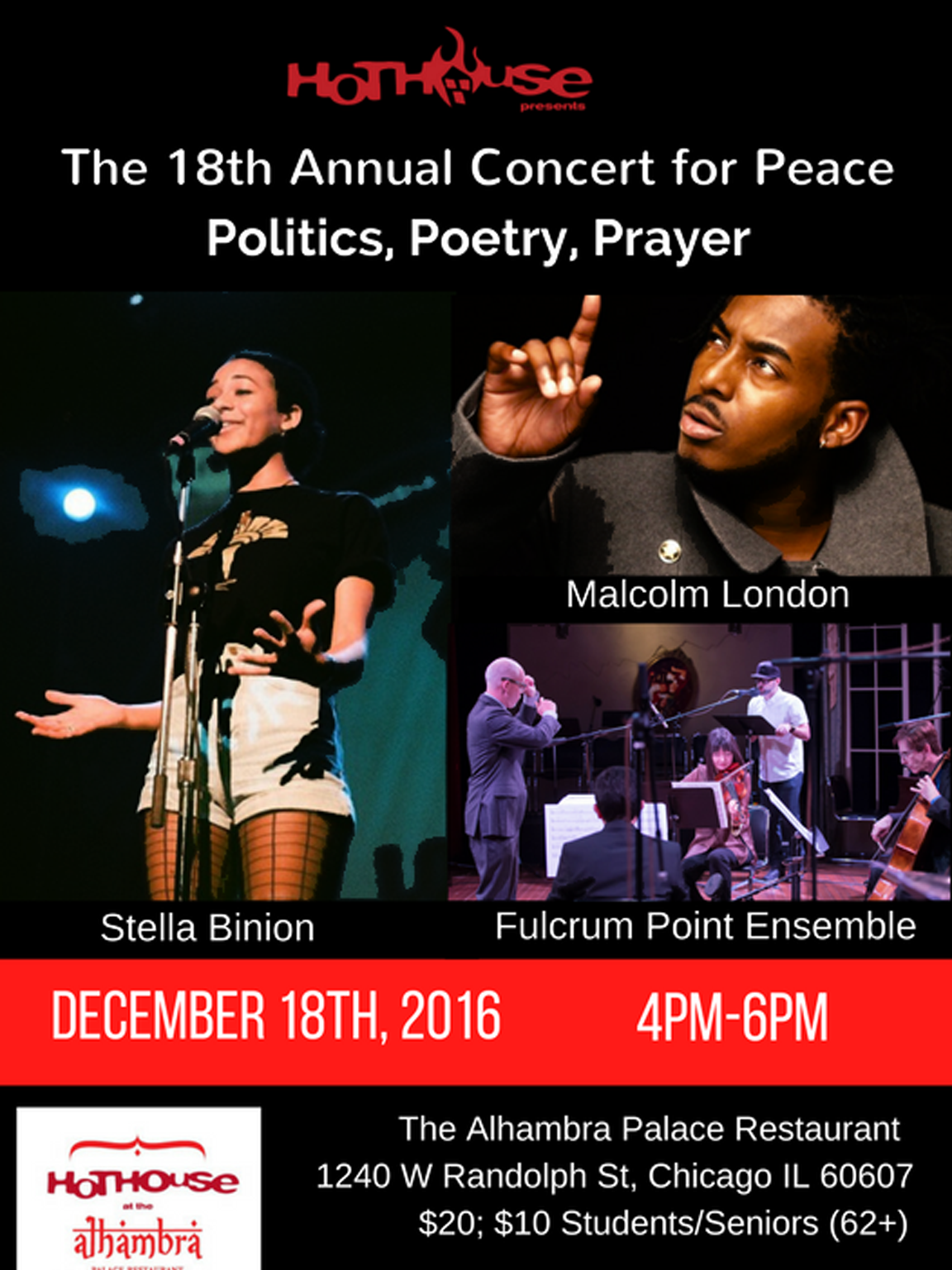 18th Annual Concert for Peace: Politics, Poetry, and Prayer