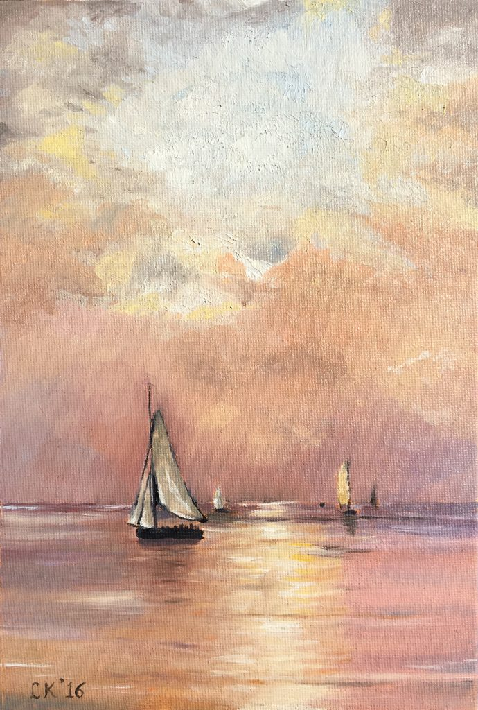 Miniature Old Masters Copy, after Mesdag, Ships at Sunset.