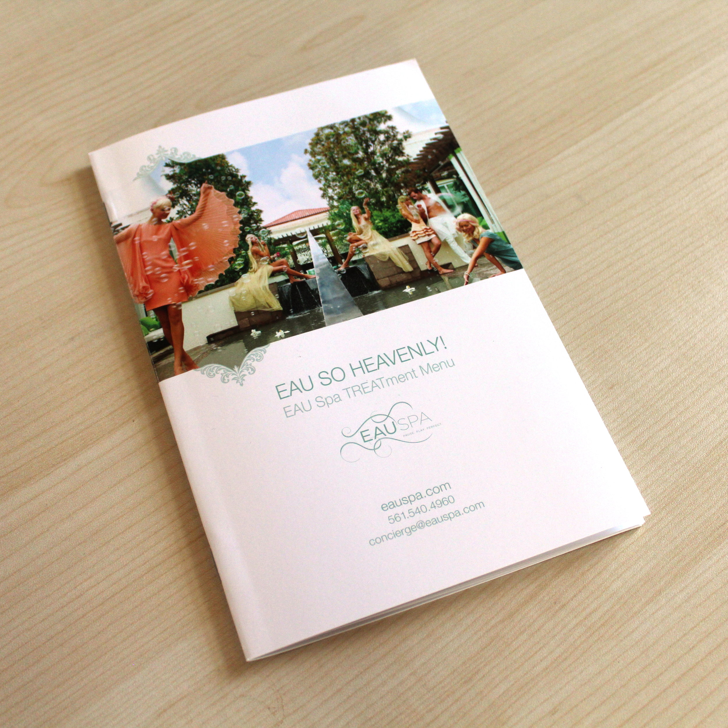 Eau Spa  Treatment Menu, Design & Printing, Photographed in House