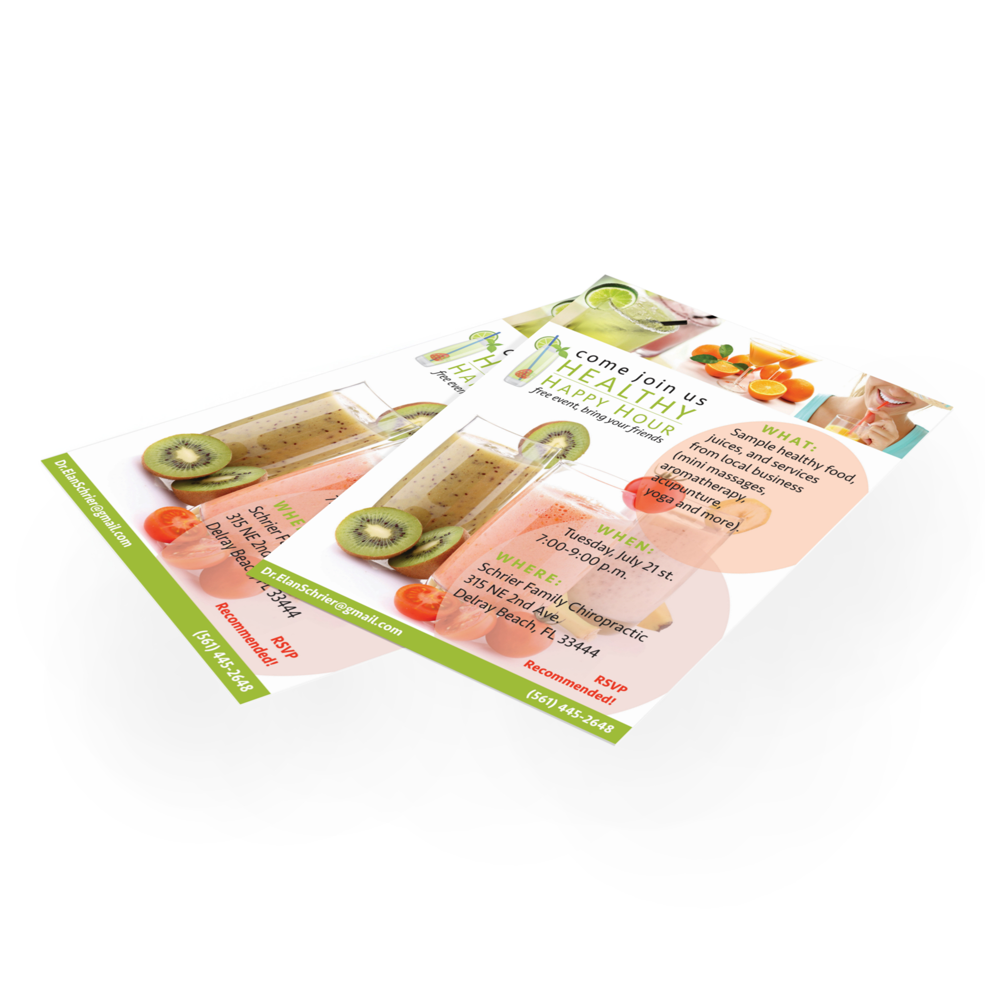 Healthy Happy Hour Flyers  Design & Printing (photographed in-house)
