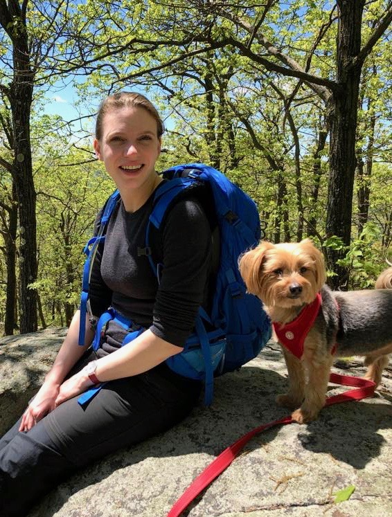 Kaj M. Kreutzfeldt - Kaj is from Berlin, Germany and earned her Bachelor's degree at The University of Edinburgh. She then earned her Masters there, studying Mycobacterium abcessus. Here she is pictured with her rescue dog Trevor, who is a very good boy.