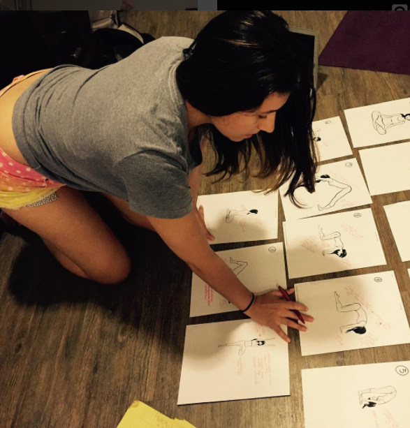 Organizing and cataloging yoga poses for a sequence in the app.