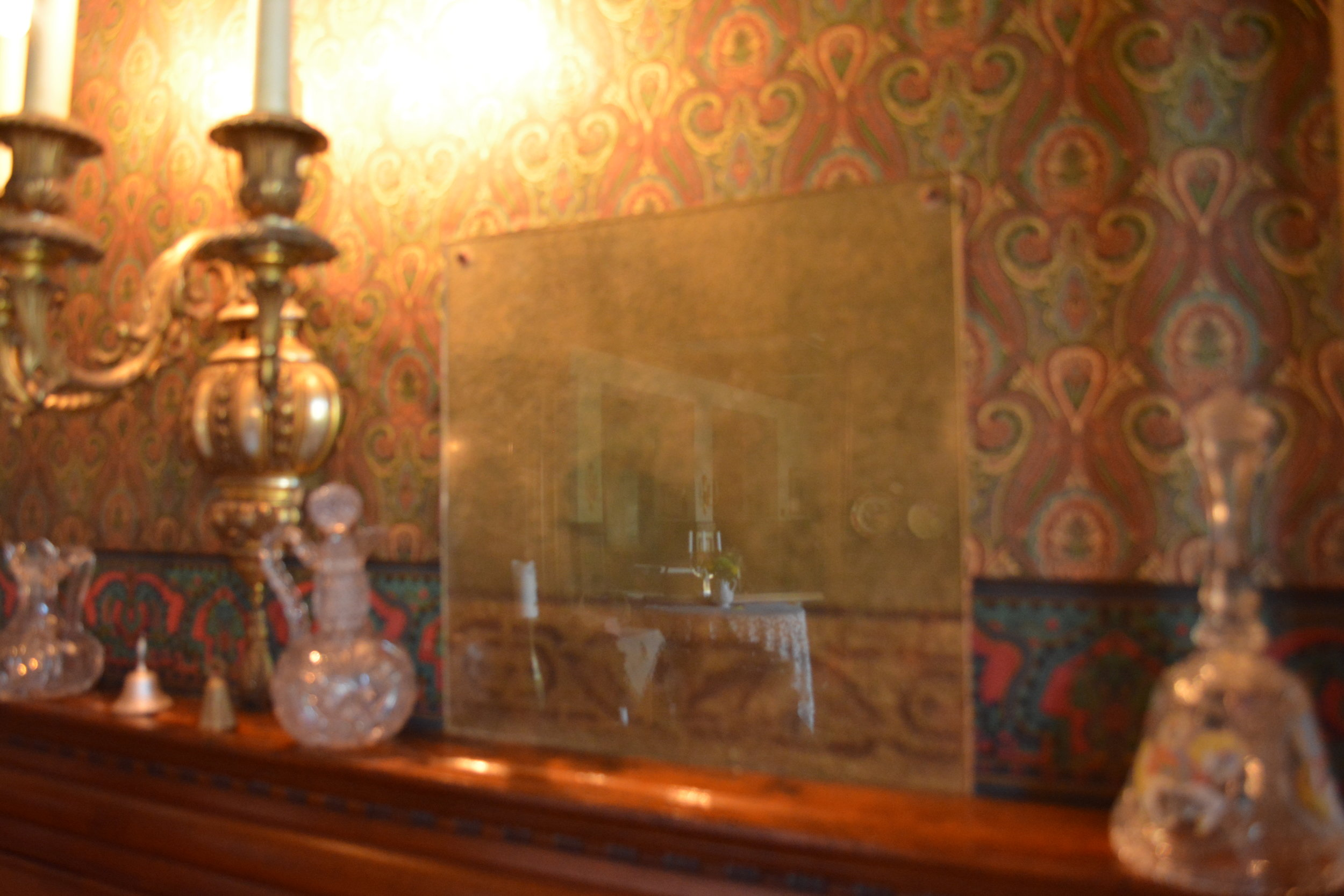 The original painted plaster in the dining room protected by plexiglass.