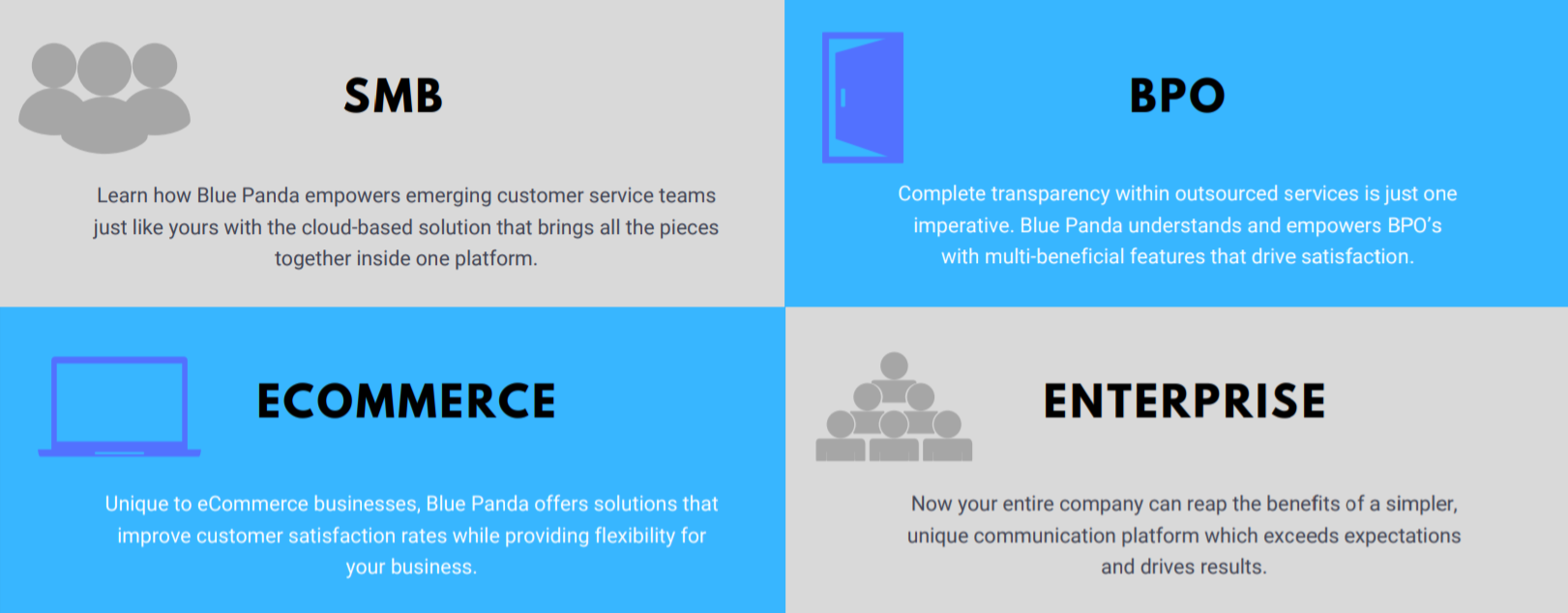 Blue Panda offers solutions to SMB, BPO, Ecommerce, and Enterprise businesses.