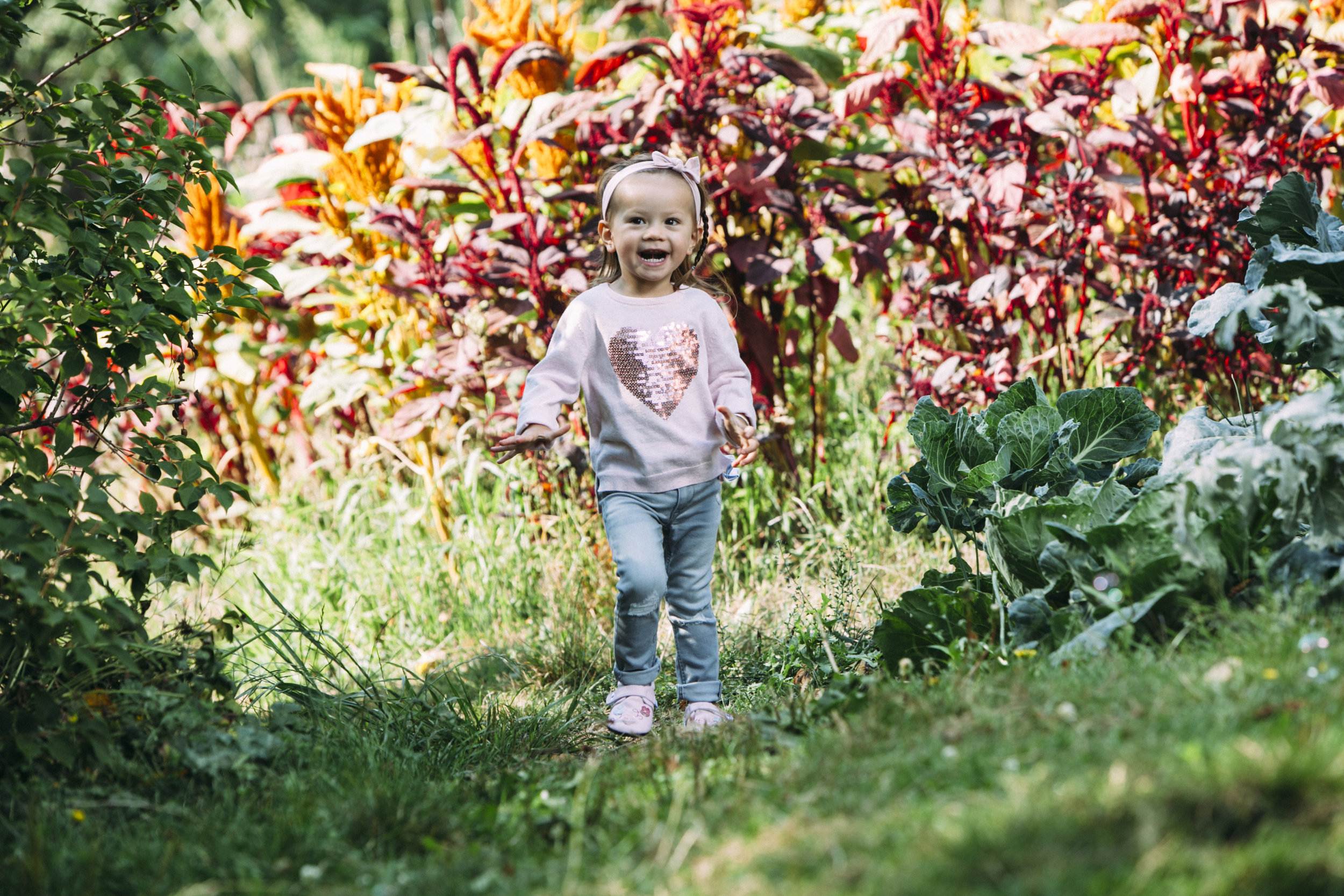 Iola exploring UBC Farm Land in her  Jack & Lily Mocs - Angelina