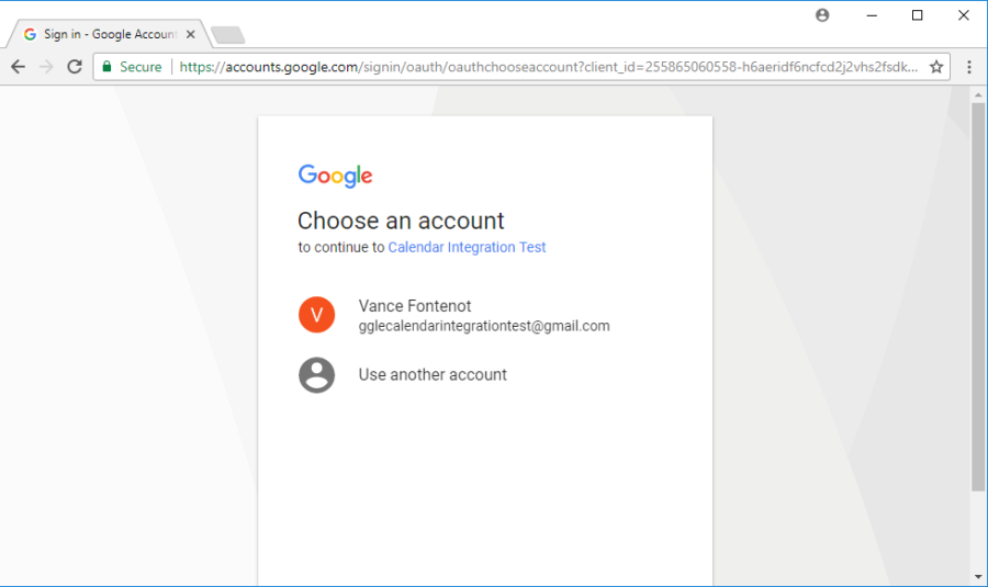 Google Account Selection