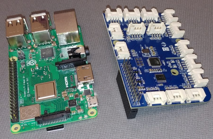 Raspberry Pi (left) and GrovePi (right)