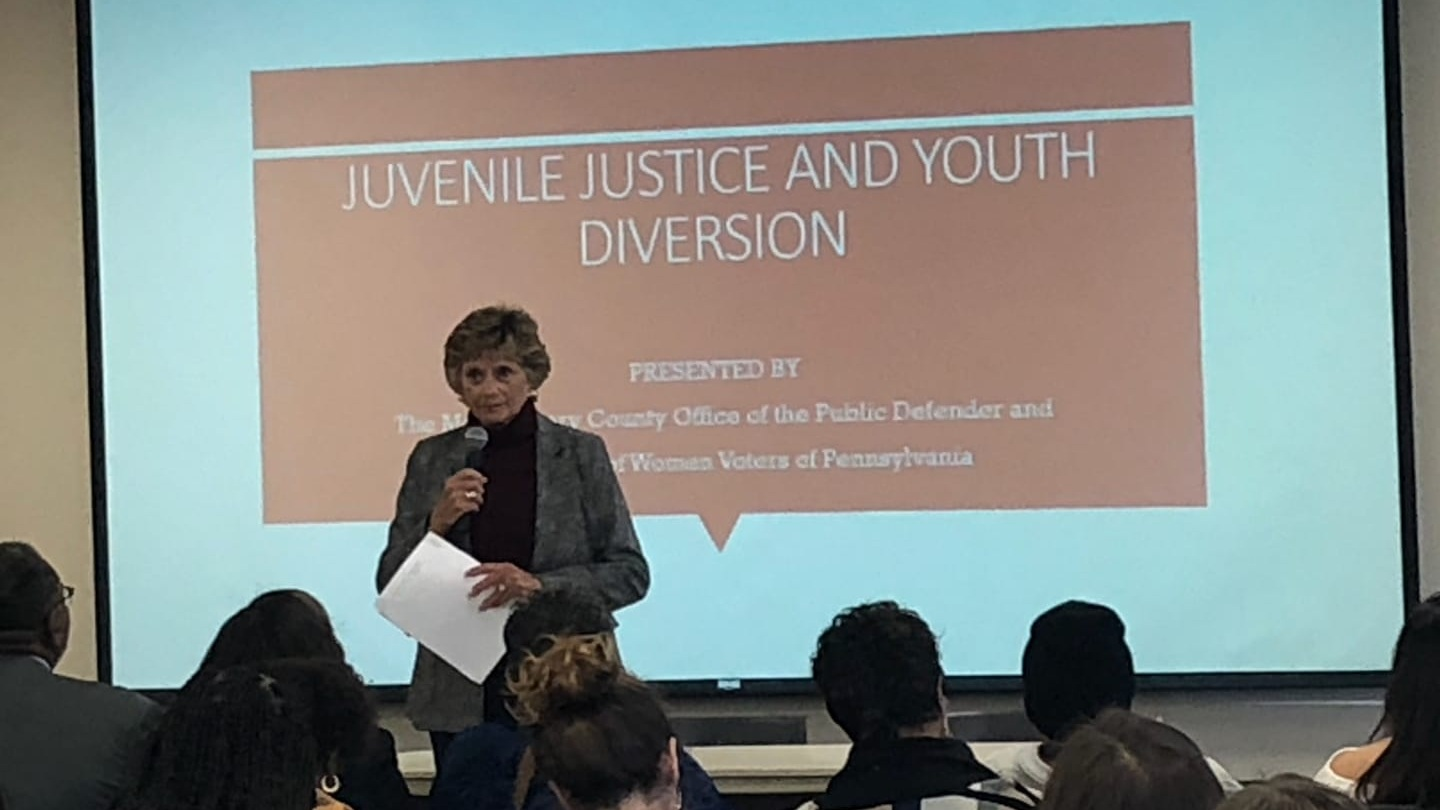 Immediate past president Susan Carty introducing the Juvenile Justice and Youth Diversion program. Montgomery County Community College, February 23, 2019.