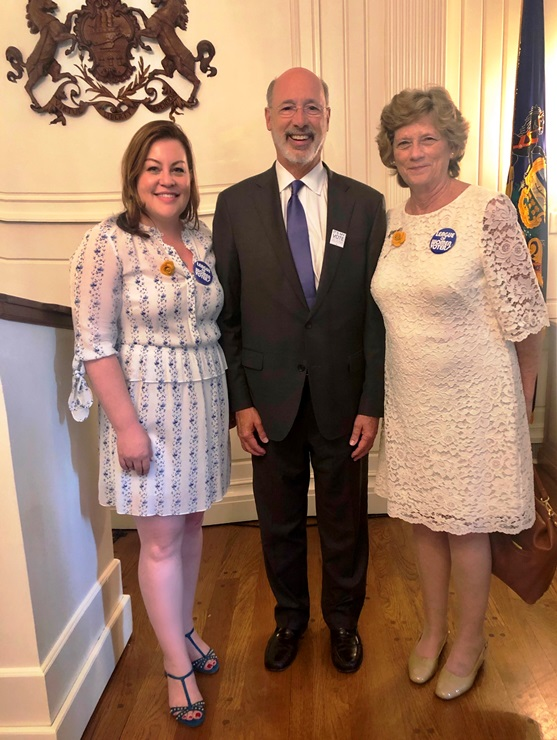 LWVPA VP of Government and Social Policy Jamie Mogil, Governor Tom Wolfe, and immediate past President Susan Carty