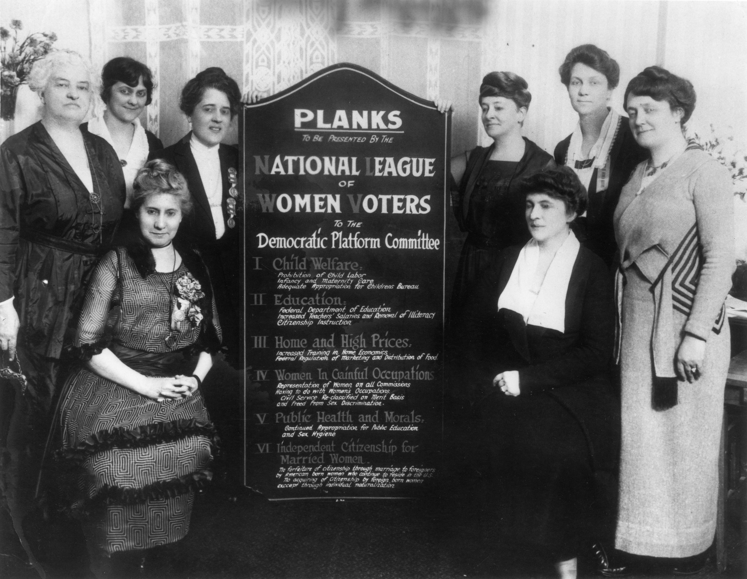 League members presenting the Planks to the Democratic convention, San Francisco, CA, 1920 .