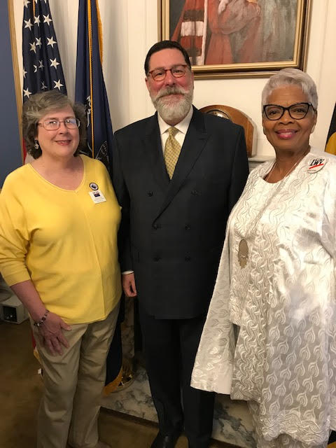 LWV of Greater Pittsburgh President Maureen Mamula and LWVPA Co-President Terrie Griffin with Pittsburgh Mayor Bill Peduto.