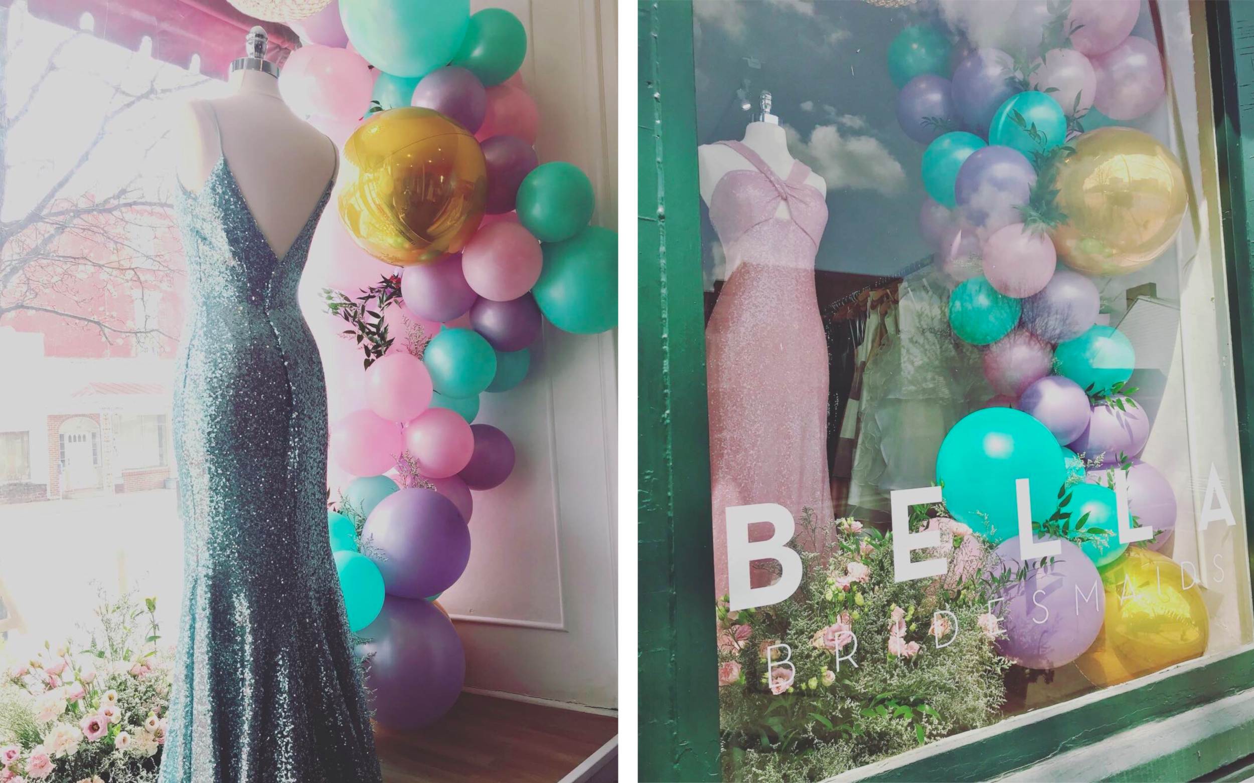 "BELLA BRIDESMAIDS - ""Being able to work with Kate was amazing! She really listen to my thoughts and opinions and brought the windows to life! Over the couple weeks the displays were in the windows, I had TONS of compliments and people stopping to look. I can't wait to do the next display with her!"" - ANNA"