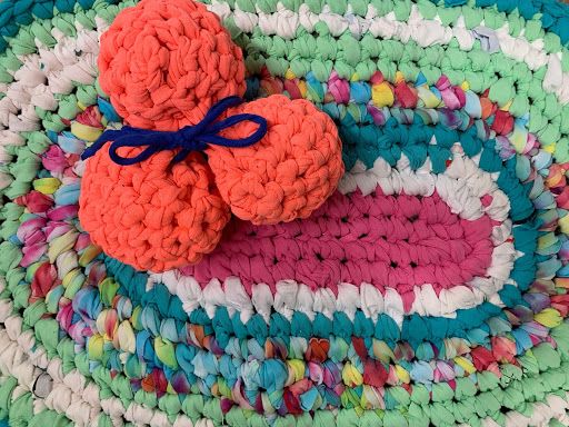 Cindy Kershner's scrap t-shirt rugs and dryer balls are a wonderful example of reuse creativity.