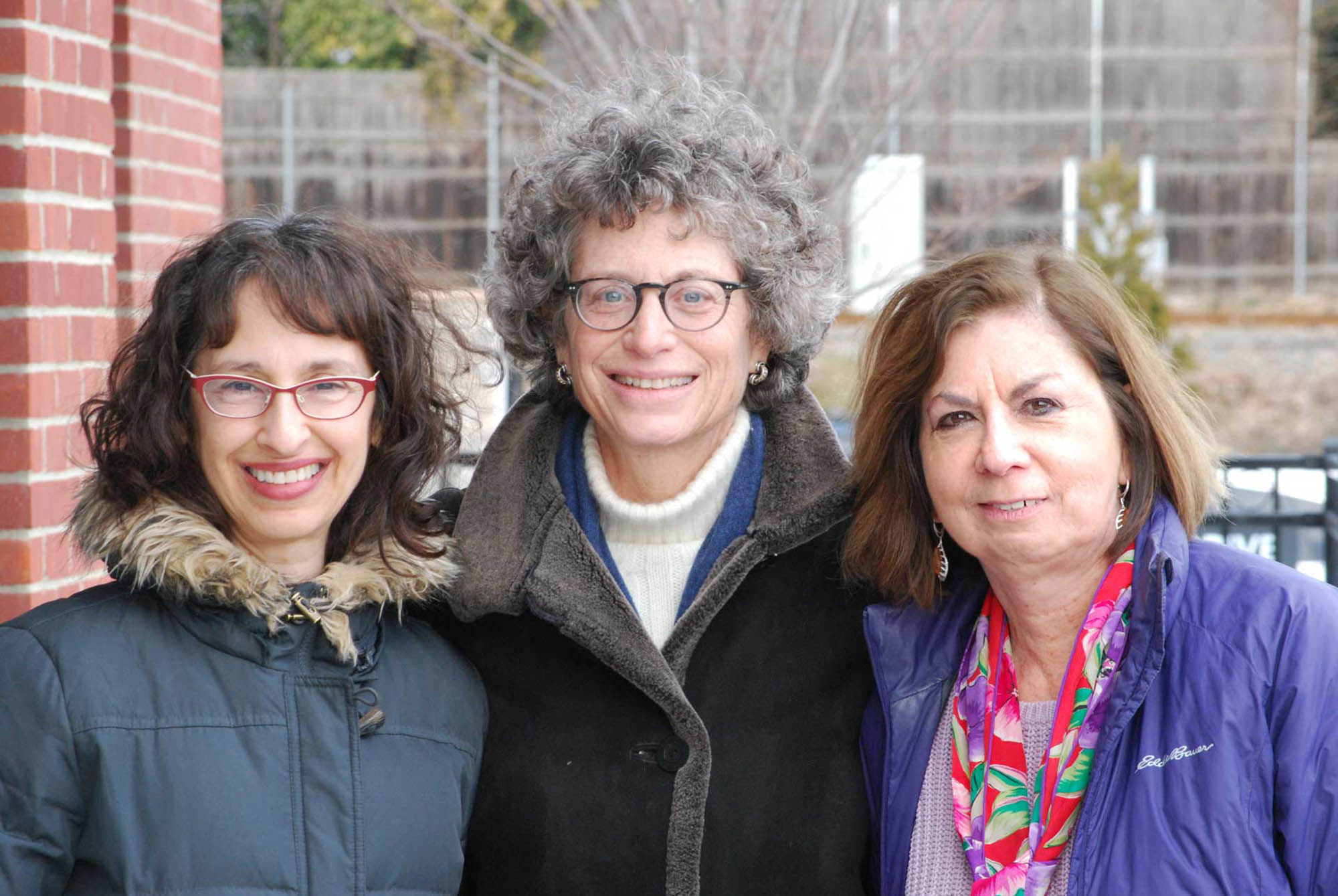 League of Women Voters of Delaware County president Barbara Amstutz (center) is joined by Reisa Mukamal (left) and Carol Briselli (right) of Congregation Beth Israel.