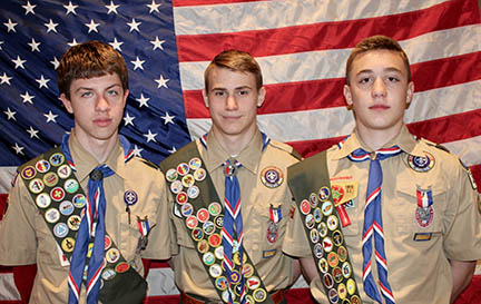 New Eagle Scouts from Rose Valley Troop 272 are (from left) Sam Travers, Braden Morris, and Alexander Siomades.