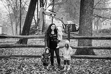 Carrie Danielle and her children by a Mariner East drill site in Exton, Pa.  Photo by Chris Baker Evens.