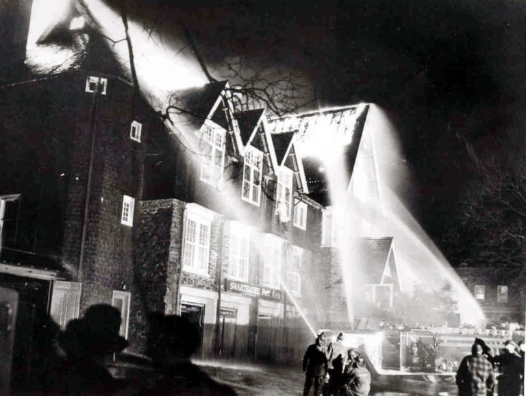 A fire ravaged Swarthmore's library, borough hall, and firehouse in 1950. Their shared building today occupies a site just south of the earlier footprint.