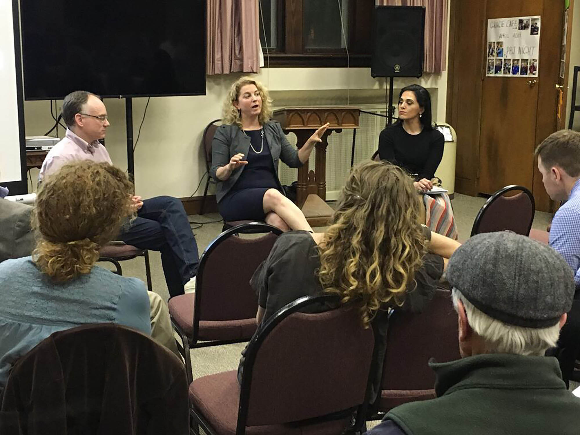 Montgomery County Assistant Public Defender Lee Awbrey (left) and Delaware County-based criminal defense attorney Wana Saadzoi led a discussion of Delco's high rates of incarceration at Trinity Church Swarthmore.  Photo by Kathleen Raffaele.