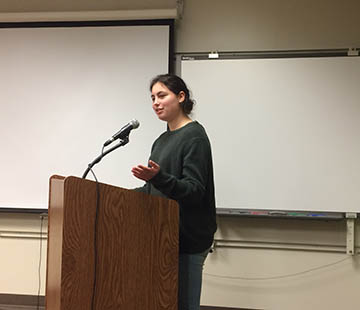 Rebecca Friedman spoke (in English) on behalf of advanced French students at SHHS.  Photo by Philip Host.