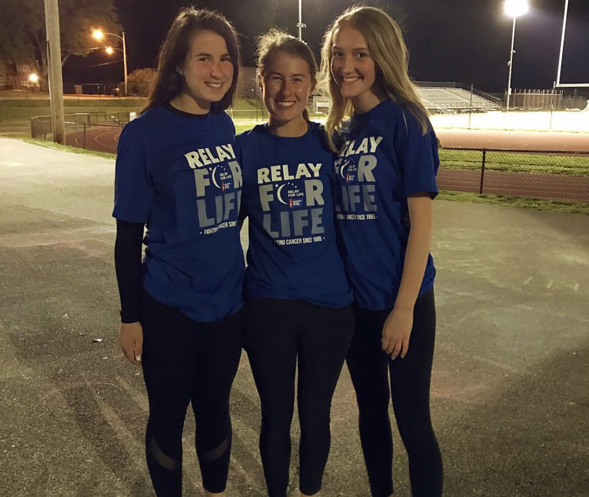 (Left to right) Abby MacPherson, Ava Fowler, and Dana Hubbell were Strath Haven HS Relay for Life captains for 2019.