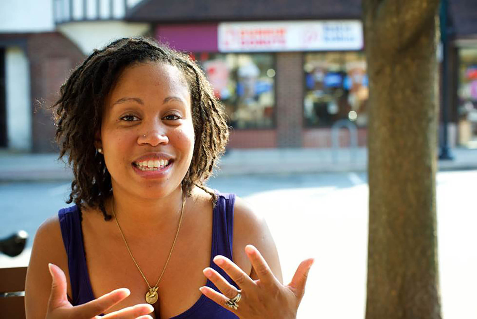 """Local writer Satya Nelms, one of the organizers of """"One Book, One Swarthmore,"""" will lead a poetry workshop for teens and tweens on Monday, June 10, at the Council Room of Swarthmore Borough Hall.  Photo by Andy Shelter."""