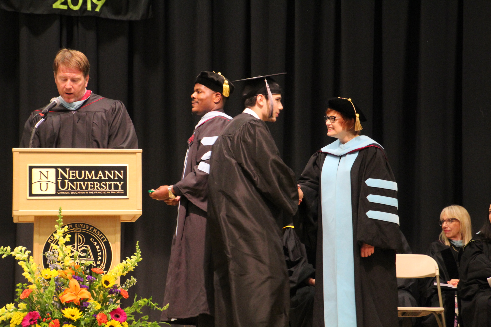 (Left to right) Strath Haven High School Assistant Principal Thomas McLaughlin, Principal Dr. Kristopher Brown, and Wallingford–Swarthmore School District Superintendent Dr. Lisa Palmer congratulated newly minted graduates from the Class of 2019 last Friday.  All Commemoration and Graduation photos are by Dierdre Abrahamsson.
