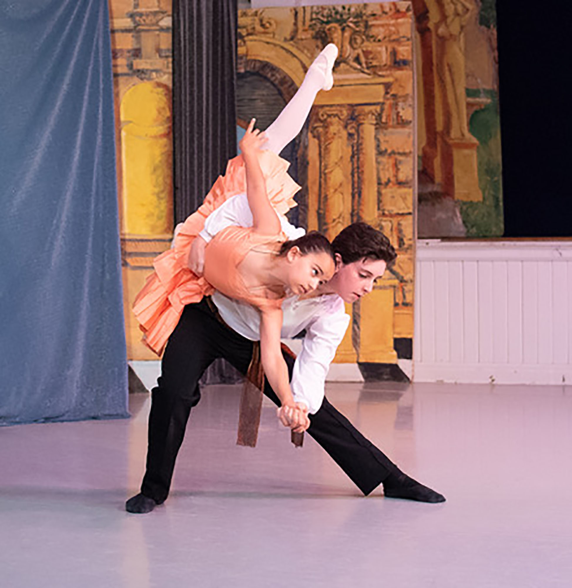Dancers Lillian Hodges and Alexander Voelker (both 12-year-old Swarthmore residents) performed in the Swarthmore Ballet Theatre 30th Anniversary Celebration earlier this month.  Photo by Kristen Herzel.