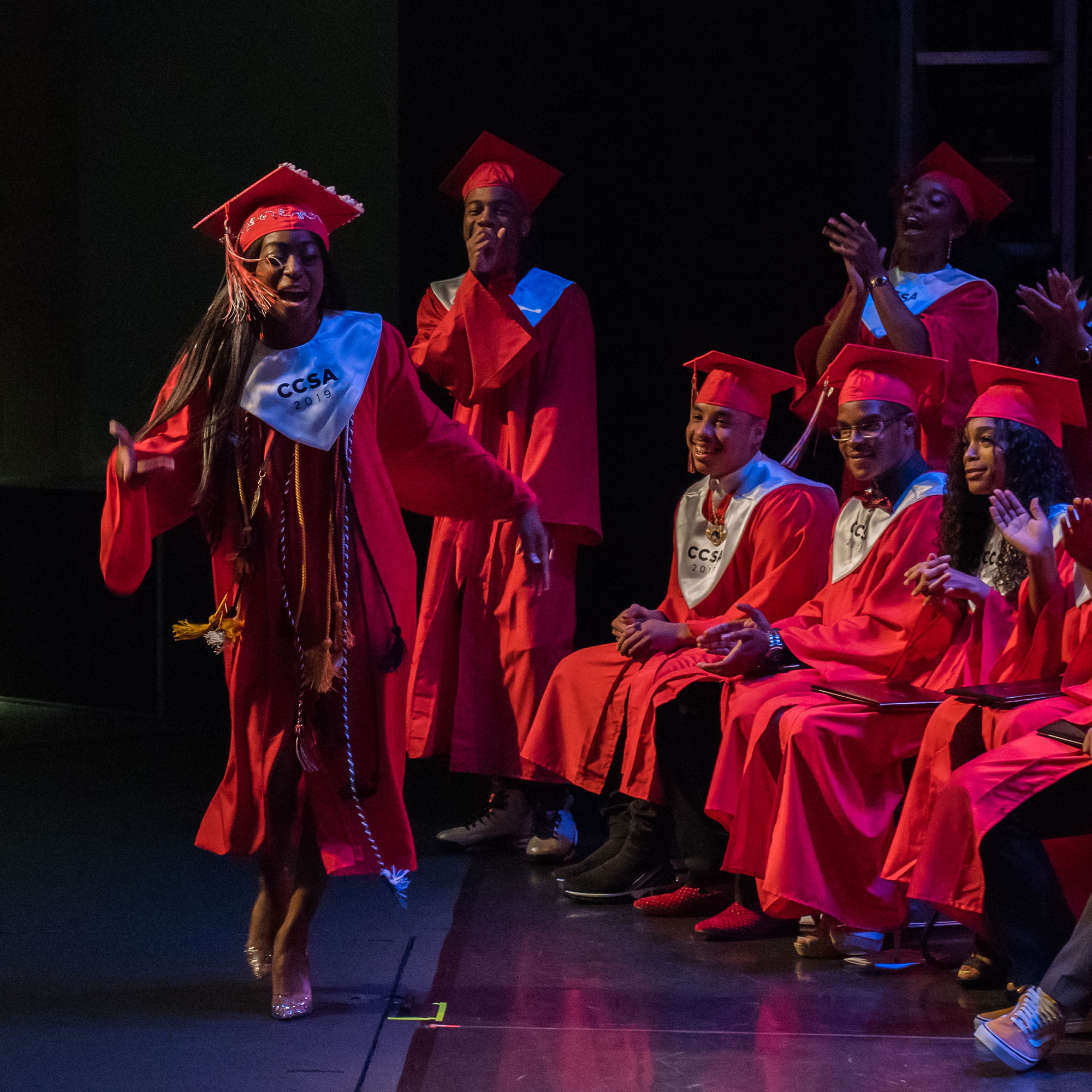 CCSA Class of 2019 Valedictorian Sierra Le'Bue-Richardson joyfully makes her way to the dais at Lang Performing Arts Center. She will study actuarial science at Morgan State University on a partial scholarship.