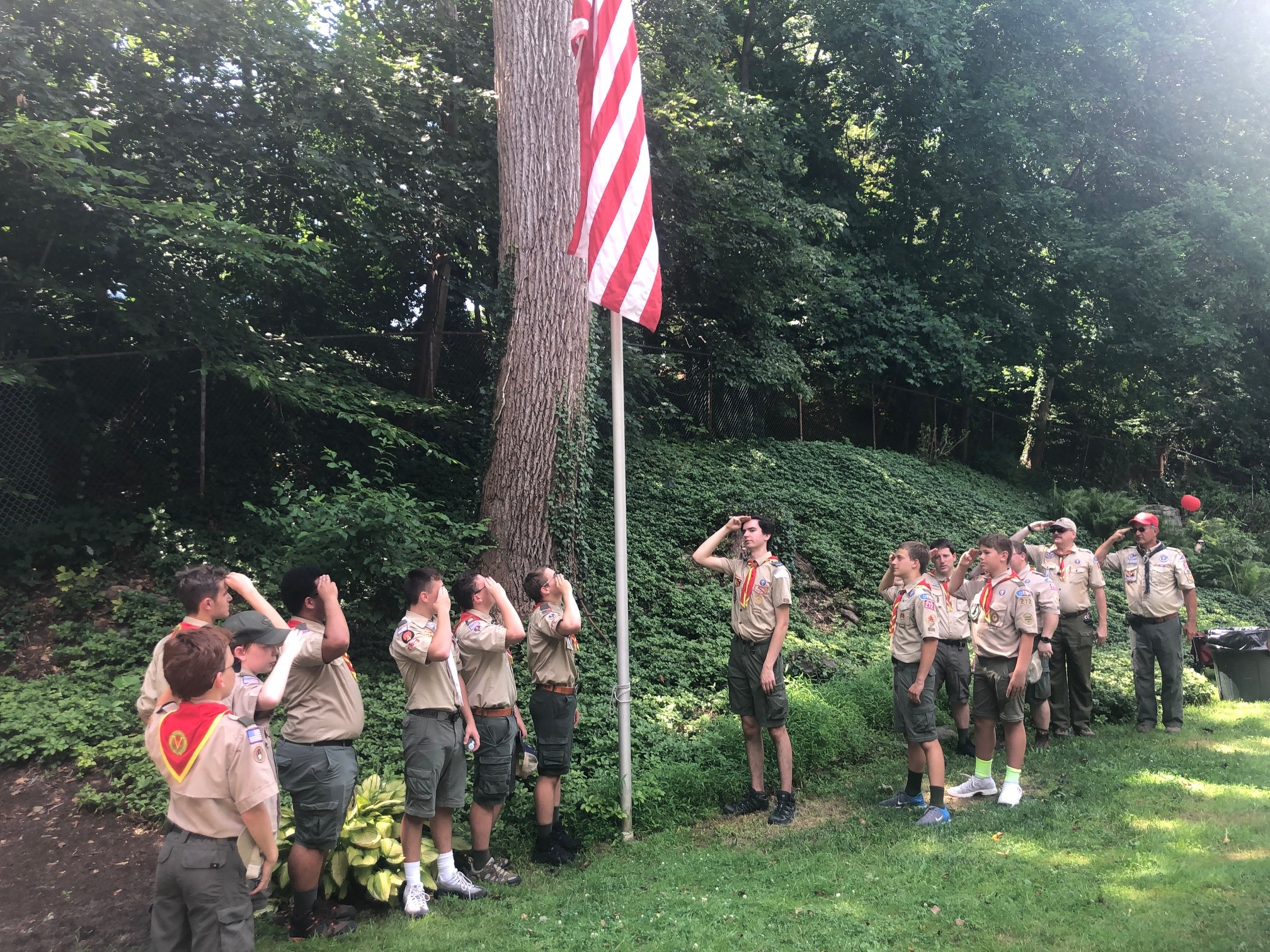 Scouts saluting in Rose Valley