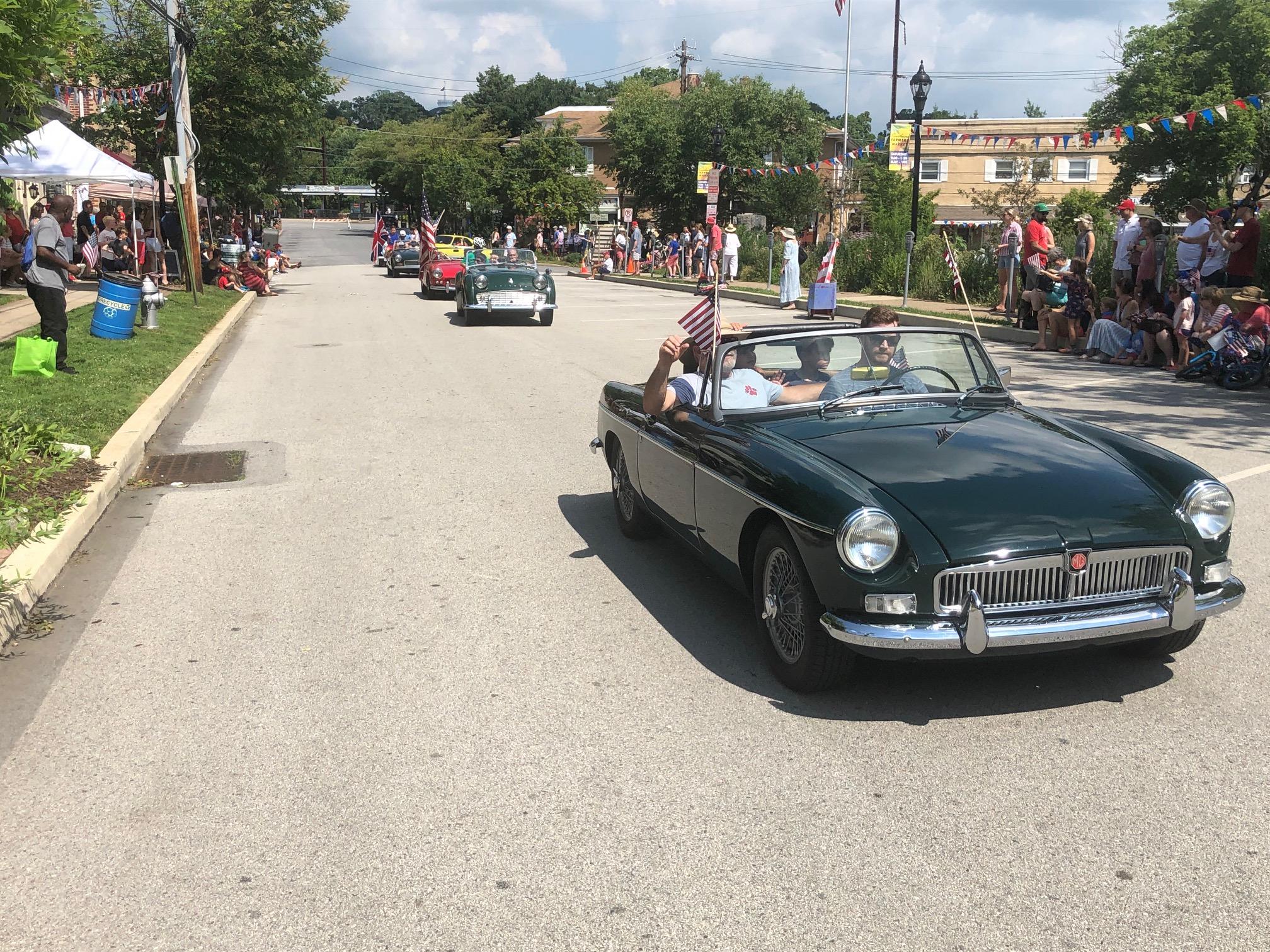 British car parade in Swarthmore