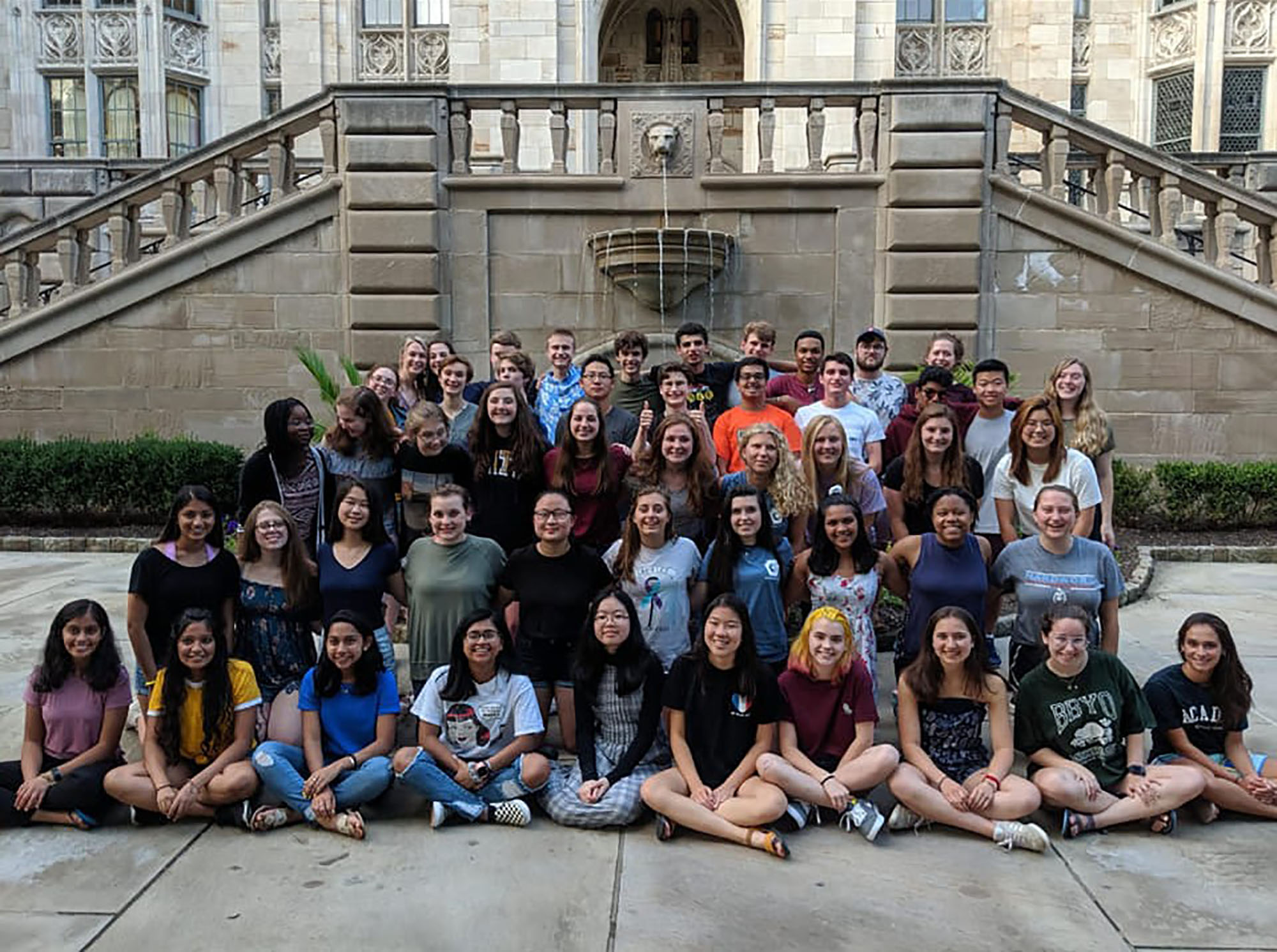 Lauren Park (front row, fifth from right) and Strath Haven H.S. classmate Alana Mackey (second row, second from right) studied at the Governor's School and hung out together in Pittsburgh.
