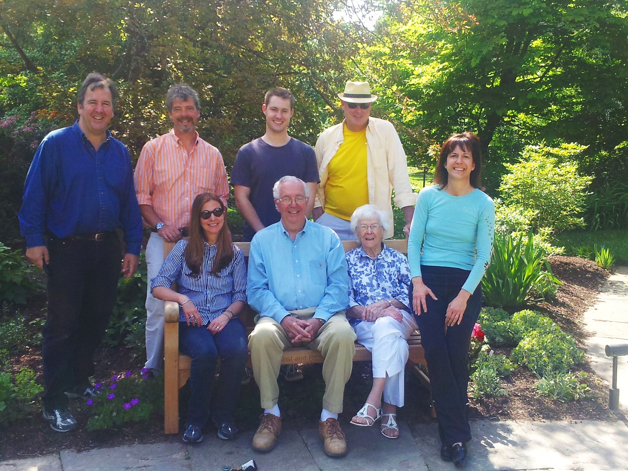 Perri Evanson's family gathered in 2012 in the memorial garden at Swarthmore Presbyterian Church at a bench dedicated to the memory of Perri's mother, Mary Wright. From left to right, standing are brothers Mark and Jeff Wright, son David Evanson Jr., ex-husband David Evanson Sr.; sitting are Mark's wife Cheryl Wright, father Ken Wright, grandmother Roma Wright (now deceased), and Perri.