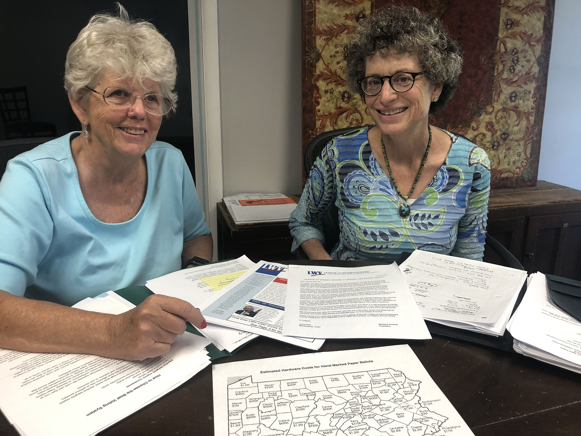 LWV voting advocates Olivia Thorne (left) and Barbara Amstutz.