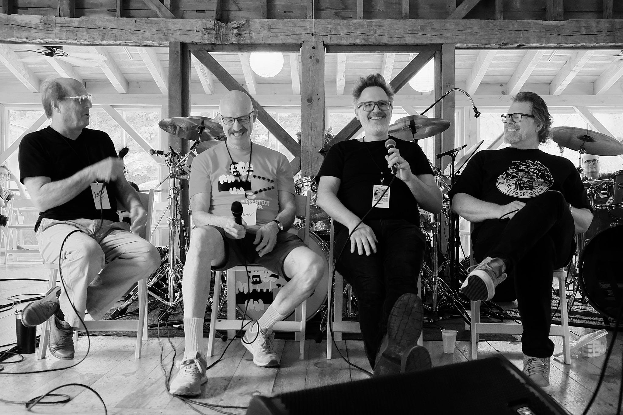 (Left to right) Adrian Belew, Tony Levin, Markus Reuter, and Pat Mastellotto telling stories at the beginning of camp.