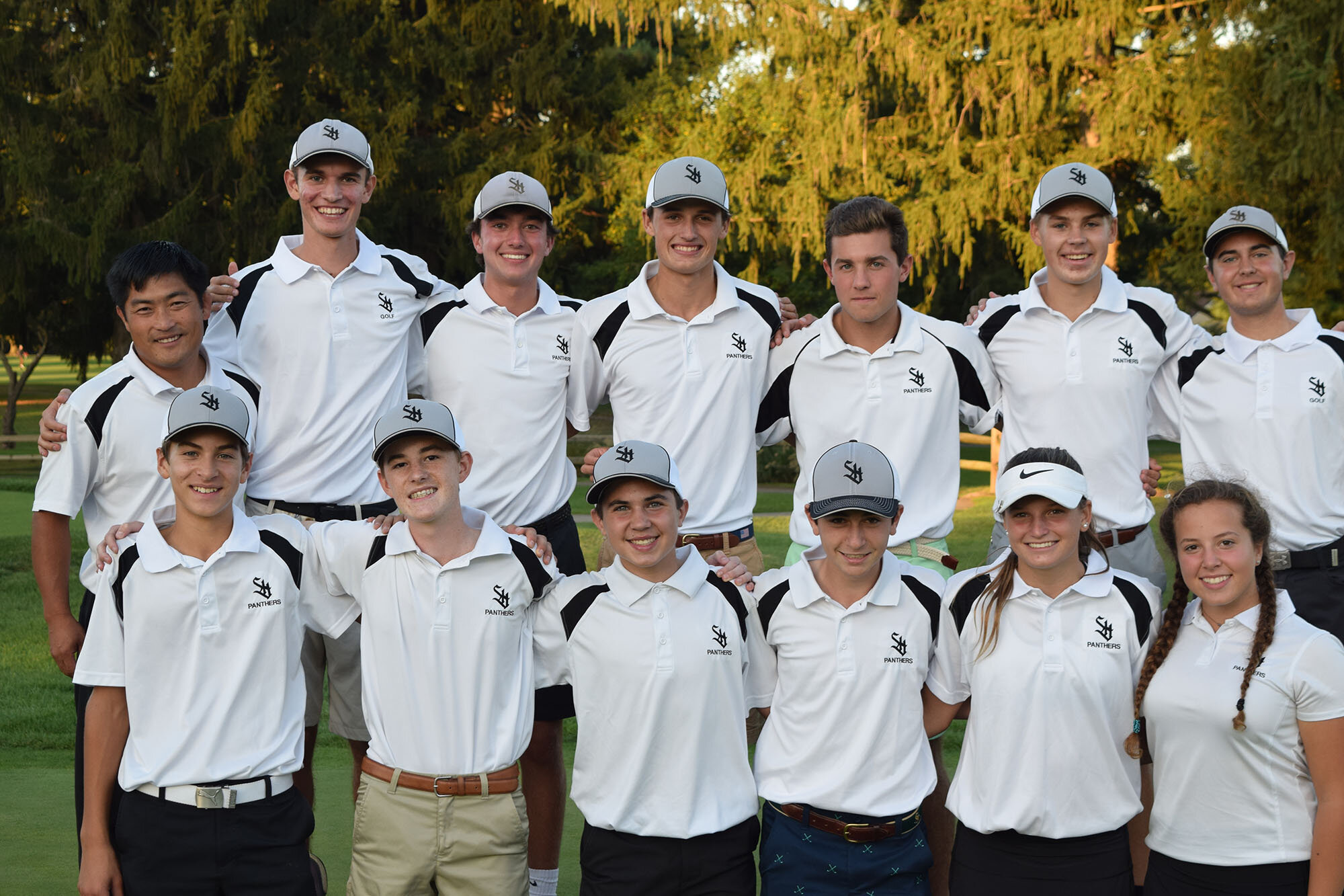 Strath Haven High School's undefeated golf team includes (top, l. to r.): Coach Kevin Kochersperger, David Merz, Nick Cardow, Kevin Smith, Alex Lombard, Thomas Sullivan, Jackson Debusschere; (bottom, l. to r.): Jackson Voshell, Colin Beucler, Tyler Debusschere, Jake Malarkey, Grace Smith, and Paige Brown.