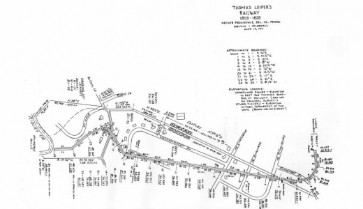 The Leiper Railroad, designed and built between 1809 and 1810 by merchant Thomas Leiper, connected his Stone Saw-Mill and Quarries on Crum Creek to his Landing on Ridley Creek, in Delaware County, Pennsylvania. Leiper's railway, the first documented railroad in America, was made of wooden wooden rails on wooden ties at 8-foot spacing. Single car trains with flanged iron wheels were pulled by horses on the three-quarter mile track.  Courtesy of historyofrailroad.com