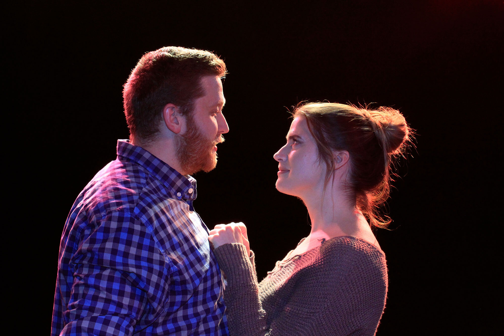 Brian Barlow and Sandra Lawler appear in Constellations at the Players Club of Swarthmore, www.pcstheater.org.  Photo by Sabrina Boyd-Surka.