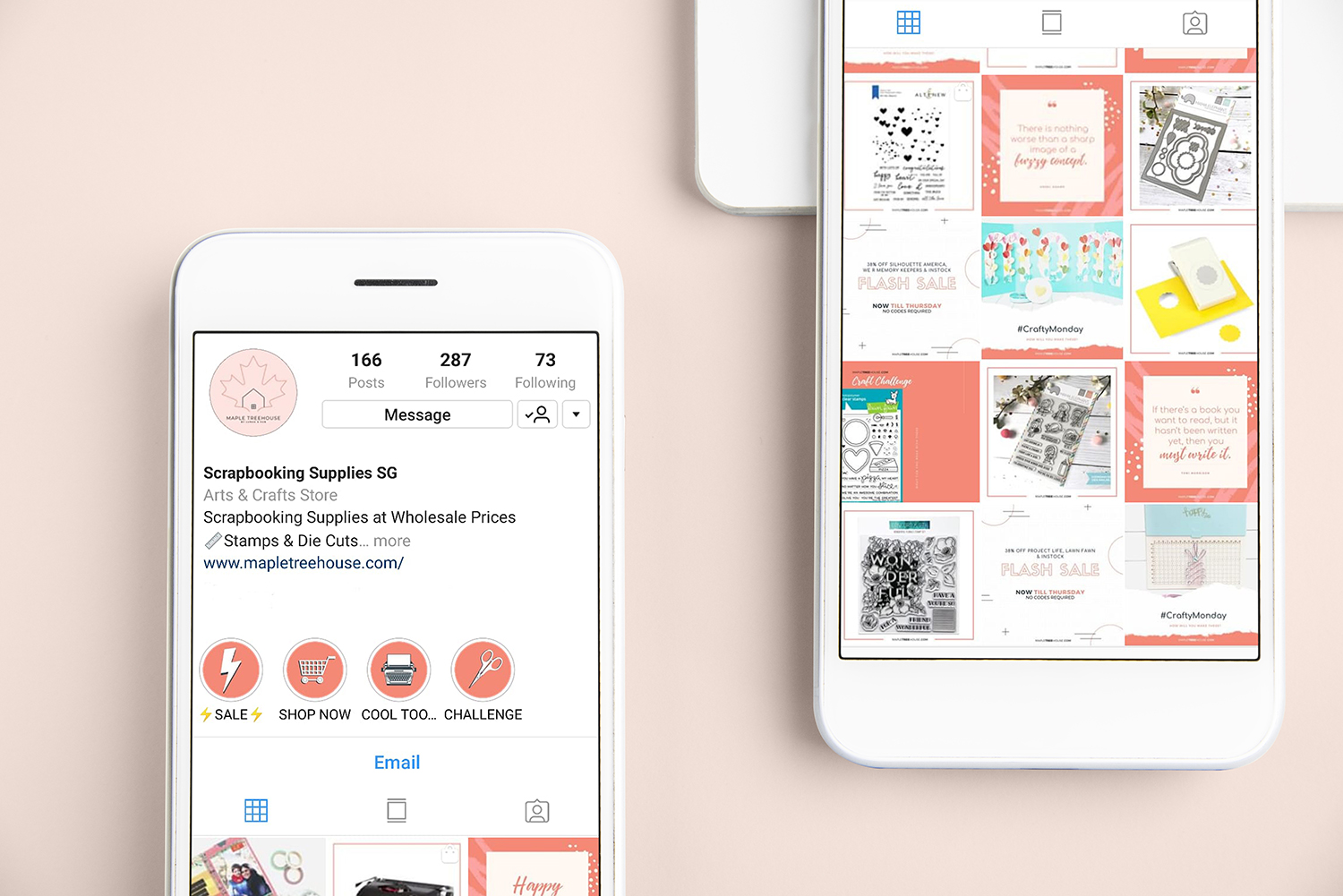 Beautiful Instagram Feed That Converts - We've helped Maple Tree House direct Instagram traffic to online store. Since we've started, even with 300 followers, we managed to help Maple Tree House TRIPLE (that's 3x) their revenue — with 70% of traffic coming from Instagram.