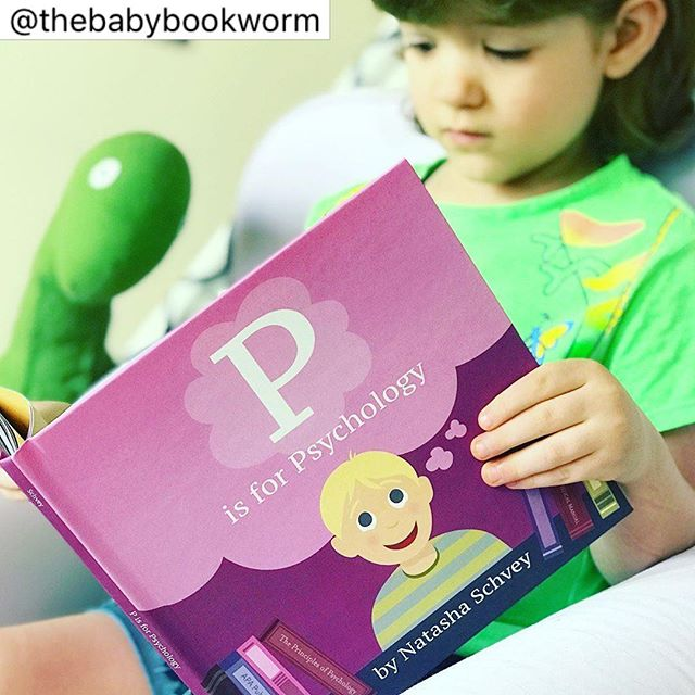 "Hello, friends! Our book today is P IS FOR PSYCHOLOGY, written by Natasha Schvey and illustrated by Nicole Jones Sturk, third in a series of alphabetic primers of advanced fields, illustrated by Sturk and written by subject matter experts.  Little readers will have a crash course in psychology terms, some simple and more broad (such as ""mindfulness"", ""attachment"", or ""therapy""), and some more specific to the field of mental health and study (like ""Classical Conditioning"", ""Delusions of Granduer"", or ""Melanie Klein""). The illustrations display the concepts, often converting them into humorous or simplified visuals for little readers to laugh at or connect to (two dogs training a human with a bell and a slice of bacon for ""Classical Conditioning"" was a favorite). These books have been sleeper hits in our household, and the newest follows the tradition of E IS FOR ECONOMICS and L IS FOR LAW by providing clever and memorable visuals to punch up rather complex subject matter. Best of all, this book is the first to feature a glossary of terms in the back, an immense help for readers of all ages who might like to learn more about what the ""Zone of Proximal Development"" is. For those well-versed in psychology, there are cute, clever visual winks, such as a recreation of the Stanford marshmallow experiment to illustrate ""eXperiment"". And perhaps best of all, all of the subjects relating to emotions and therapy are depicted in a positive, encouraging light; the artwork for ""Therapy"", in which a smiling boy calmly and casually chats with his therapist, is a great way to show little ones that there is nothing scary or wrong about mental health. Sturk's illustrations feature a diverse cast, the length is fine for a quick read, and as I said, JJ loves these books! A cute primer for families who have experience in the field of mental health, or would love to learn more together, and it's Baby Bookworm approved! (Note: A copy of this book was provided to The Baby Bookworm by the author in exchange for an honest review.) Be sure to check out our website at thebabybookwormblog.wordpress.com for more reviews! See you tomorrow!"
